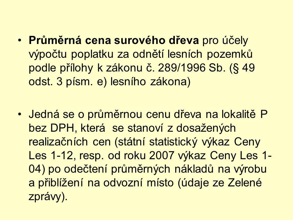 •Průměrná cena surového dřeva pro účely výpočtu poplatku za odnětí lesních pozemků podle přílohy k zákonu č. 289/1996 Sb. (§ 49 odst. 3 písm. e) lesní