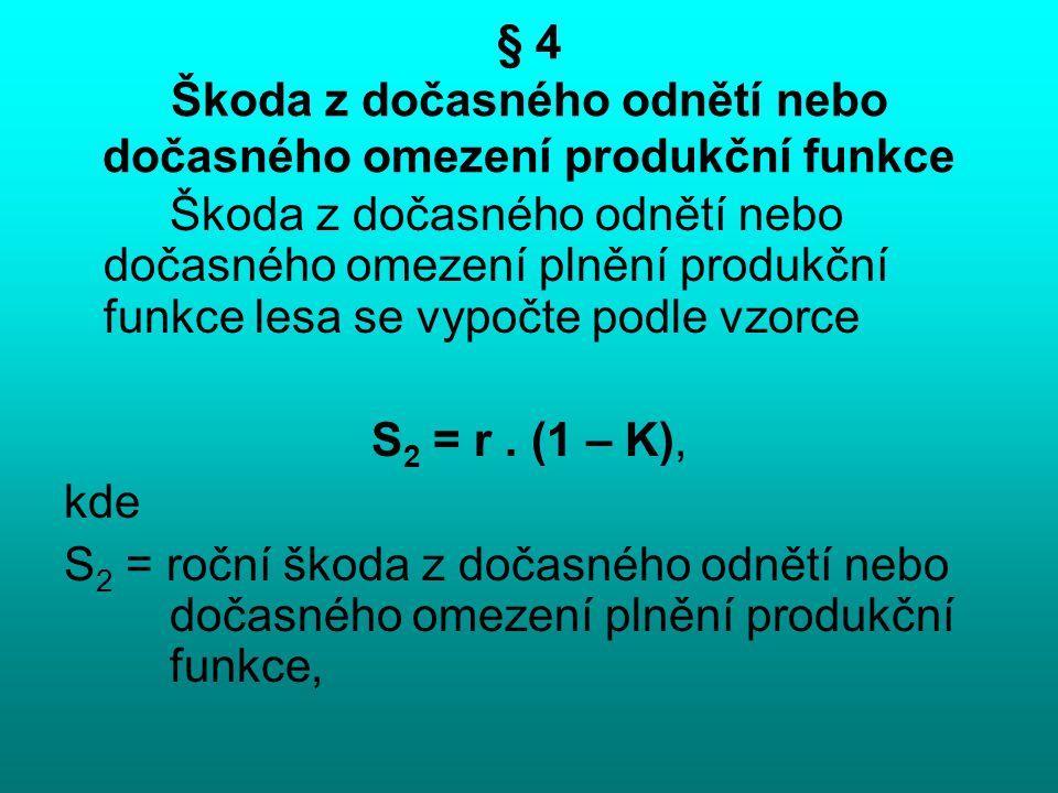 § 4 Škoda z dočasného odnětí nebo dočasného omezení produkční funkce Škoda z dočasného odnětí nebo dočasného omezení plnění produkční funkce lesa se v
