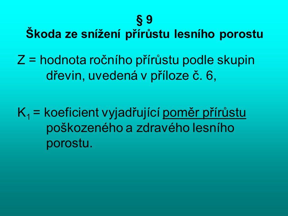 § 9 Škoda ze snížení přírůstu lesního porostu Z = hodnota ročního přírůstu podle skupin dřevin, uvedená v příloze č. 6, K 1 = koeficient vyjadřující p