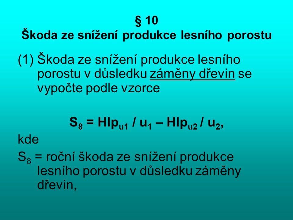 § 10 Škoda ze snížení produkce lesního porostu (1)Škoda ze snížení produkce lesního porostu v důsledku záměny dřevin se vypočte podle vzorce S 8 = Hlp
