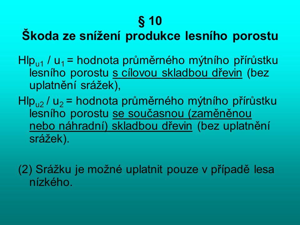§ 10 Škoda ze snížení produkce lesního porostu Hlp u1 / u 1 = hodnota průměrného mýtního přírůstku lesního porostu s cílovou skladbou dřevin (bez upla
