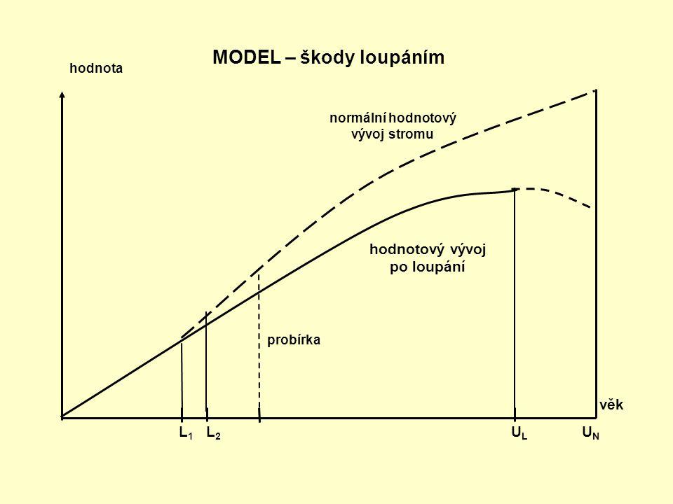 věk L 1 L 2 U L U N MODEL – škody loupáním normální hodnotový vývoj stromu probírka hodnota hodnotový vývoj po loupání