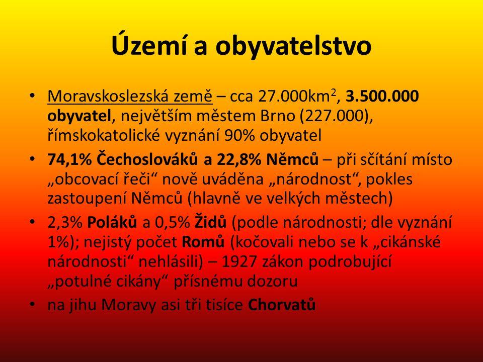 Území a obyvatelstvo • Moravskoslezská země – cca 27.000km 2, 3.500.000 obyvatel, největším městem Brno (227.000), římskokatolické vyznání 90% obyvate