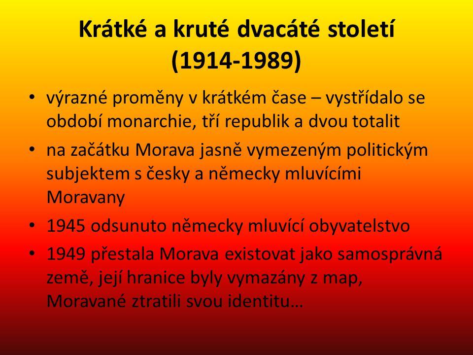 Krátké a kruté dvacáté století (1914-1989) • výrazné proměny v krátkém čase – vystřídalo se období monarchie, tří republik a dvou totalit • na začátku