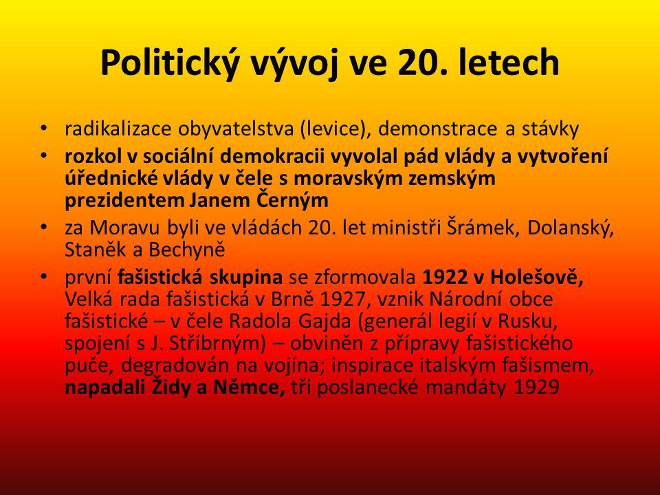 Politický vývoj ve 20. letech • radikalizace obyvatelstva (levice), demonstrace a stávky • rozkol v sociální demokracii vyvolal pád vlády a vytvoření