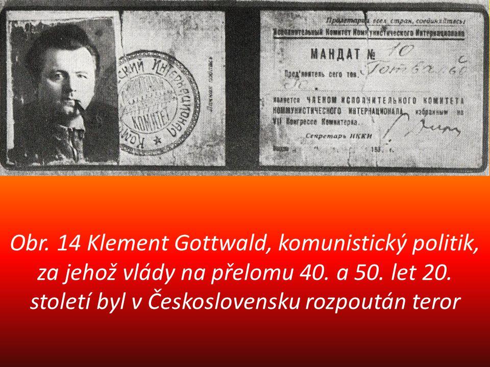 Obr. 14 Klement Gottwald, komunistický politik, za jehož vlády na přelomu 40. a 50. let 20. století byl v Československu rozpoután teror