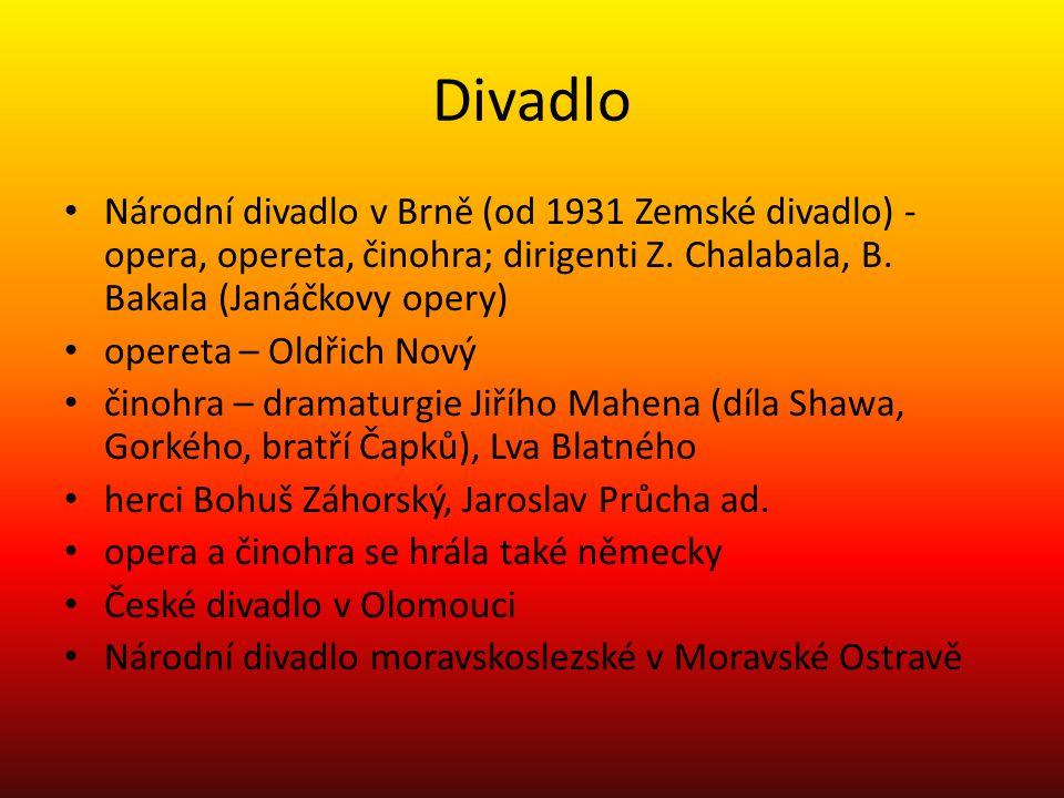 Divadlo • Národní divadlo v Brně (od 1931 Zemské divadlo) - opera, opereta, činohra; dirigenti Z. Chalabala, B. Bakala (Janáčkovy opery) • opereta – O