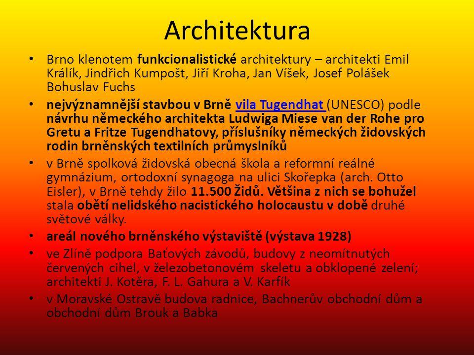 Architektura • Brno klenotem funkcionalistické architektury – architekti Emil Králík, Jindřich Kumpošt, Jiří Kroha, Jan Víšek, Josef Polášek Bohuslav