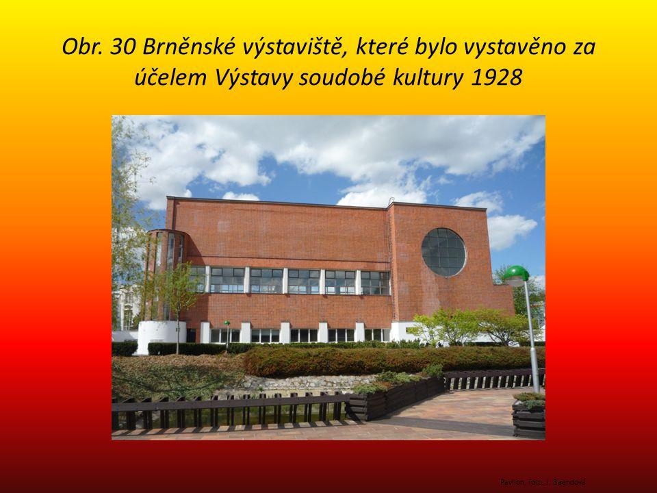 Obr. 30 Brněnské výstaviště, které bylo vystavěno za účelem Výstavy soudobé kultury 1928 Pavilon, foto. J. Baendová