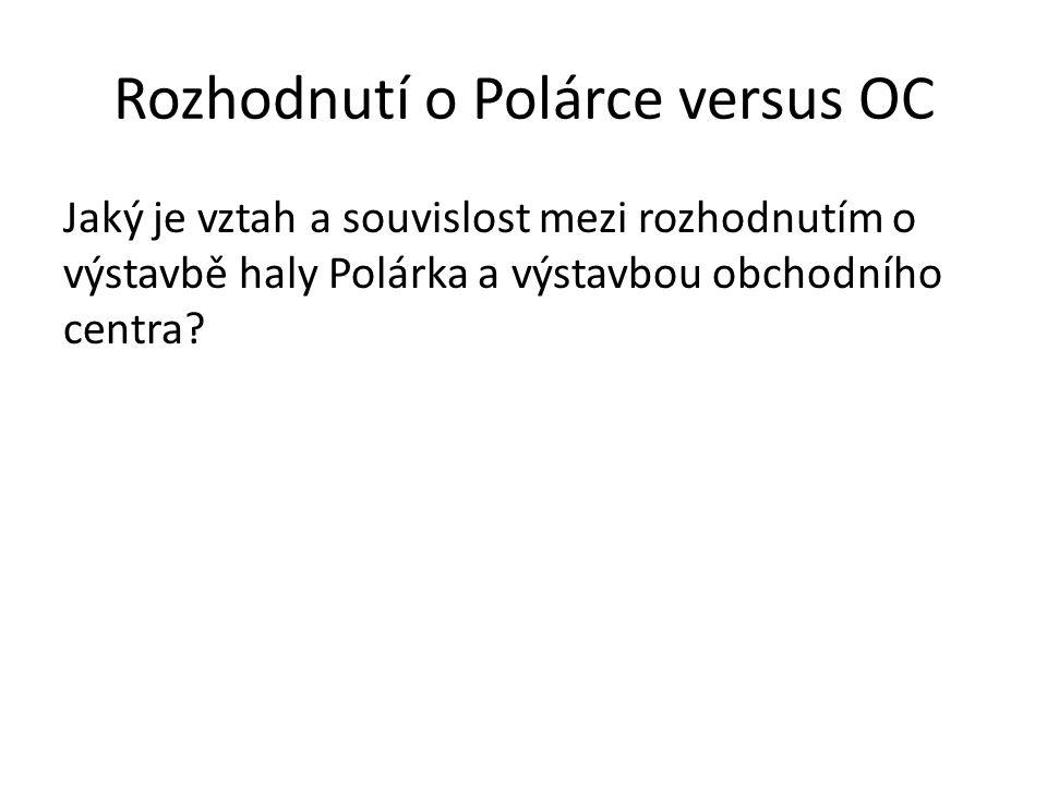 Rozhodnutí o Polárce versus OC Jaký je vztah a souvislost mezi rozhodnutím o výstavbě haly Polárka a výstavbou obchodního centra?
