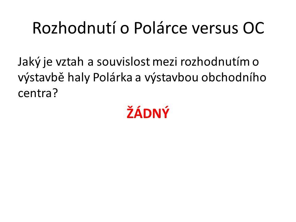 Rozhodnutí o Polárce versus OC Jaký je vztah a souvislost mezi rozhodnutím o výstavbě haly Polárka a výstavbou obchodního centra? ŽÁDNÝ
