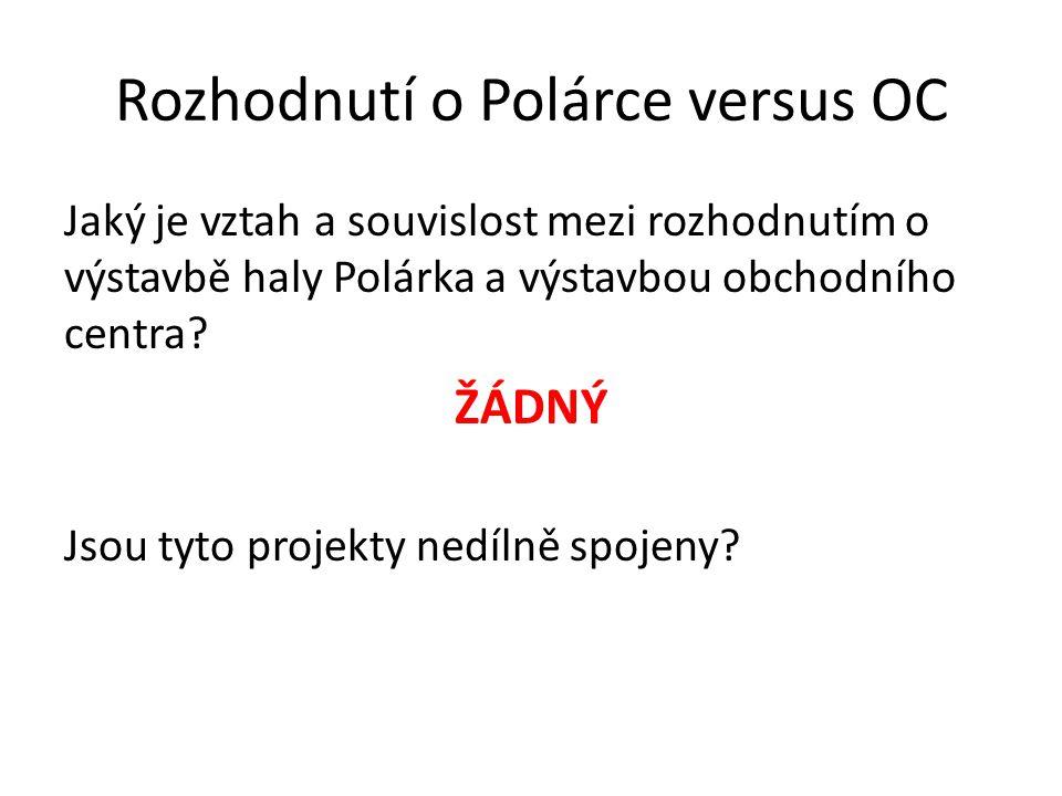 Rozhodnutí o Polárce versus OC Jaký je vztah a souvislost mezi rozhodnutím o výstavbě haly Polárka a výstavbou obchodního centra? ŽÁDNÝ Jsou tyto proj
