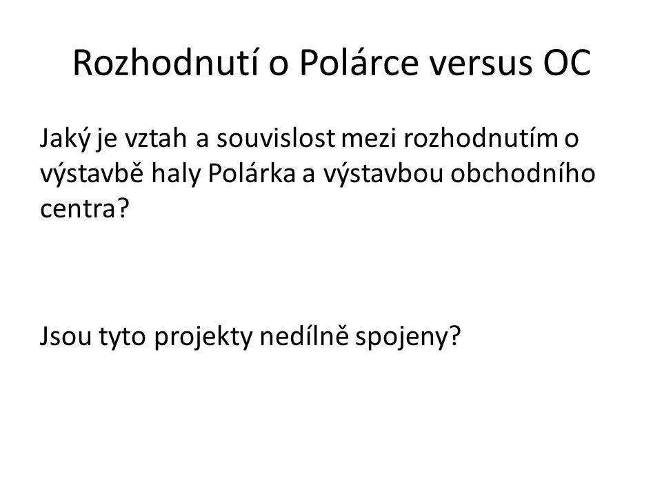 Rozhodnutí o Polárce versus OC Jaký je vztah a souvislost mezi rozhodnutím o výstavbě haly Polárka a výstavbou obchodního centra? Jsou tyto projekty n