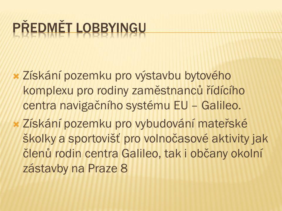  Získání pozemku pro výstavbu bytového komplexu pro rodiny zaměstnanců řídícího centra navigačního systému EU – Galileo.