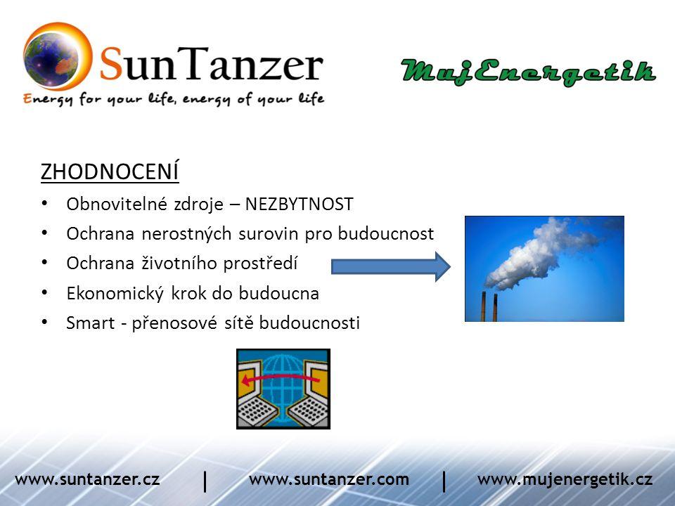 ZHODNOCENÍ • Obnovitelné zdroje – NEZBYTNOST • Ochrana nerostných surovin pro budoucnost • Ochrana životního prostředí • Ekonomický krok do budoucna •