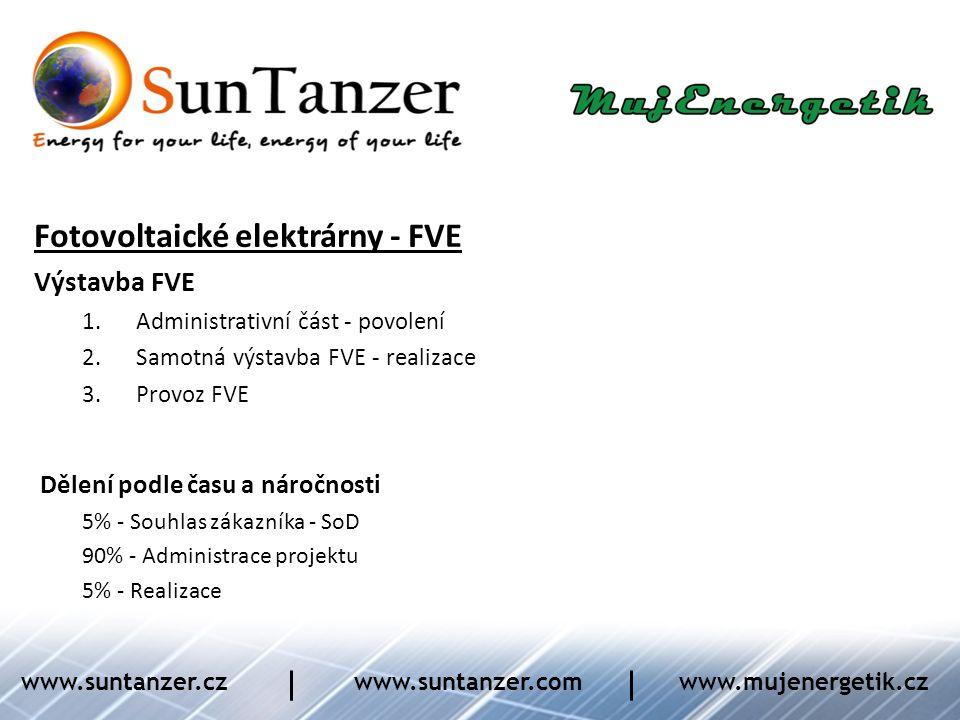 Fotovoltaické elektrárny - FVE Výstavba FVE 1.Administrativní část - povolení 2.Samotná výstavba FVE - realizace 3.Provoz FVE Dělení podle času a náro