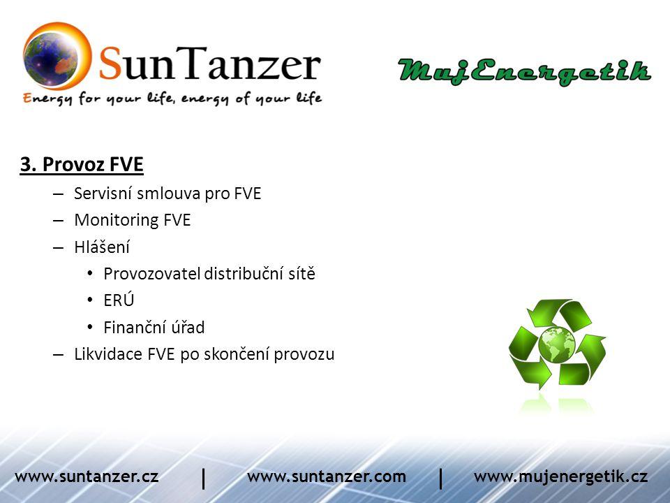 3. Provoz FVE – Servisní smlouva pro FVE – Monitoring FVE – Hlášení • Provozovatel distribuční sítě • ERÚ • Finanční úřad – Likvidace FVE po skončení
