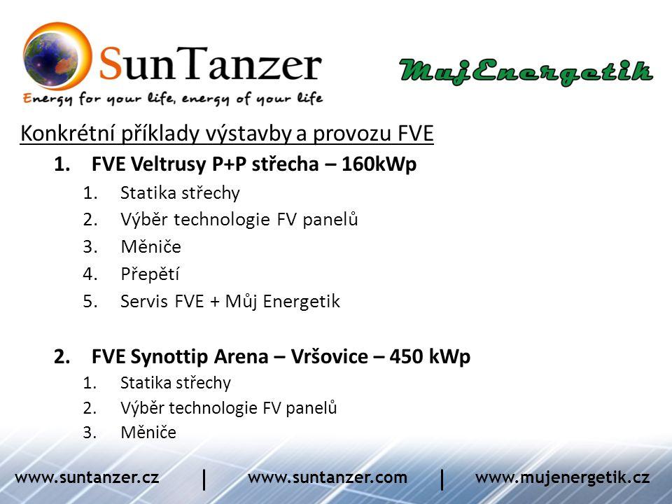Konkrétní příklady výstavby a provozu FVE 1.FVE Veltrusy P+P střecha – 160kWp 1.Statika střechy 2.Výběr technologie FV panelů 3.Měniče 4.Přepětí 5.Ser