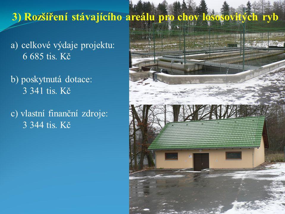 a)celkové výdaje projektu: 6 685 tis.Kč b) poskytnutá dotace: 3 341 tis.