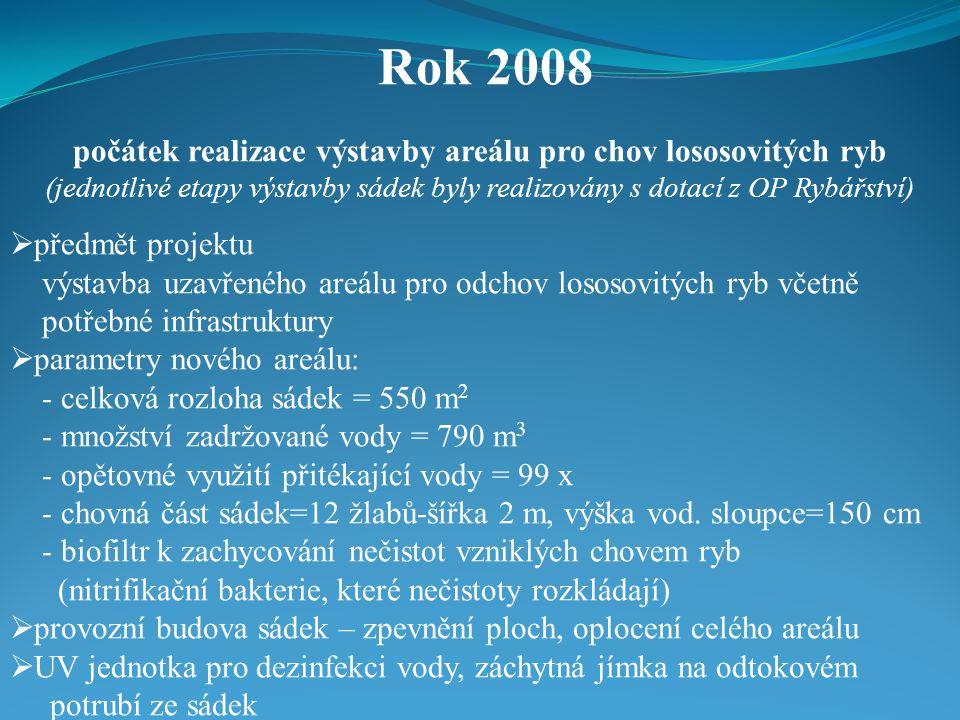 Rok 2008 počátek realizace výstavby areálu pro chov lososovitých ryb (jednotlivé etapy výstavby sádek byly realizovány s dotací z OP Rybářství)  předmět projektu výstavba uzavřeného areálu pro odchov lososovitých ryb včetně potřebné infrastruktury  parametry nového areálu: - celková rozloha sádek = 550 m 2 - množství zadržované vody = 790 m 3 - opětovné využití přitékající vody = 99 x - chovná část sádek=12 žlabů-šířka 2 m, výška vod.