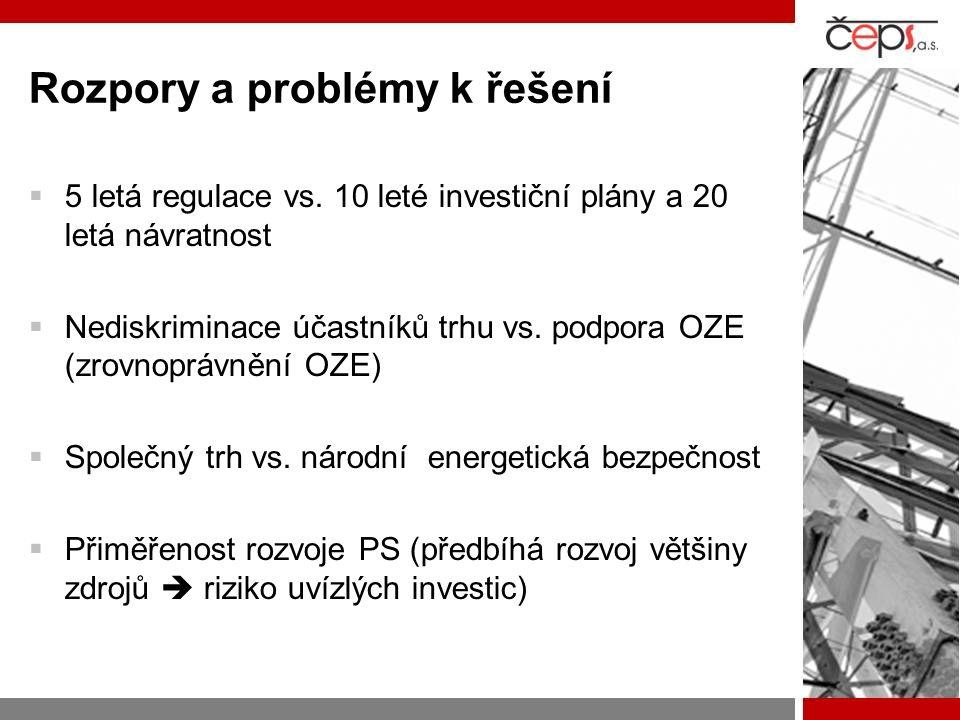 Rozpory a problémy k řešení  5 letá regulace vs. 10 leté investiční plány a 20 letá návratnost  Nediskriminace účastníků trhu vs. podpora OZE (zrovn