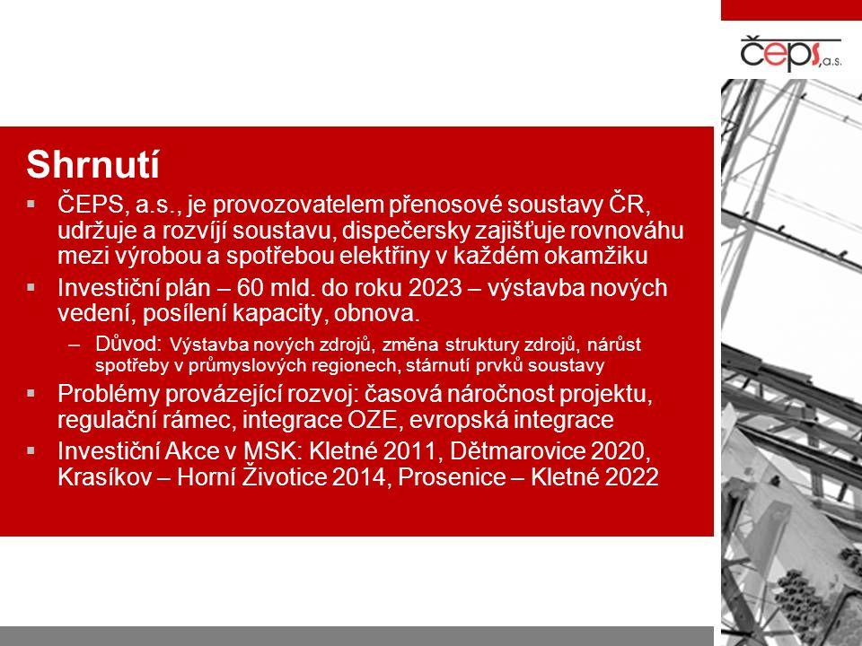 Shrnutí  ČEPS, a.s., je provozovatelem přenosové soustavy ČR, udržuje a rozvíjí soustavu, dispečersky zajišťuje rovnováhu mezi výrobou a spotřebou el