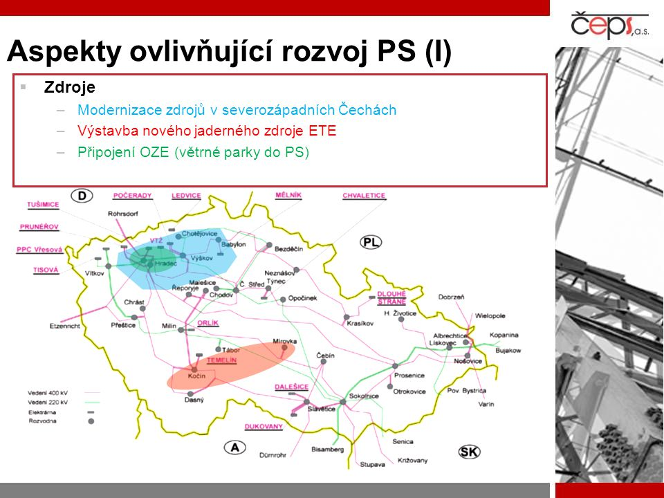 Aspekty ovlivňující rozvoj PS (I)  Zdroje –Modernizace zdrojů v severozápadních Čechách –Výstavba nového jaderného zdroje ETE –Připojení OZE (větrné