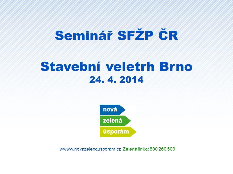 wwww.novazelenausporam.cz Zelená linka: 800 260 500 Seminář SFŽP ČR Stavební veletrh Brno 24.