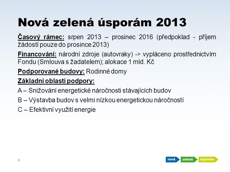 Nová zelená úsporám 2013 Časový rámec: srpen 2013 – prosinec 2016 (předpoklad - příjem žádostí pouze do prosince 2013) Financování: národní zdroje (autovraky) -> vypláceno prostřednictvím Fondu (Smlouva s žadatelem); alokace 1 mld.