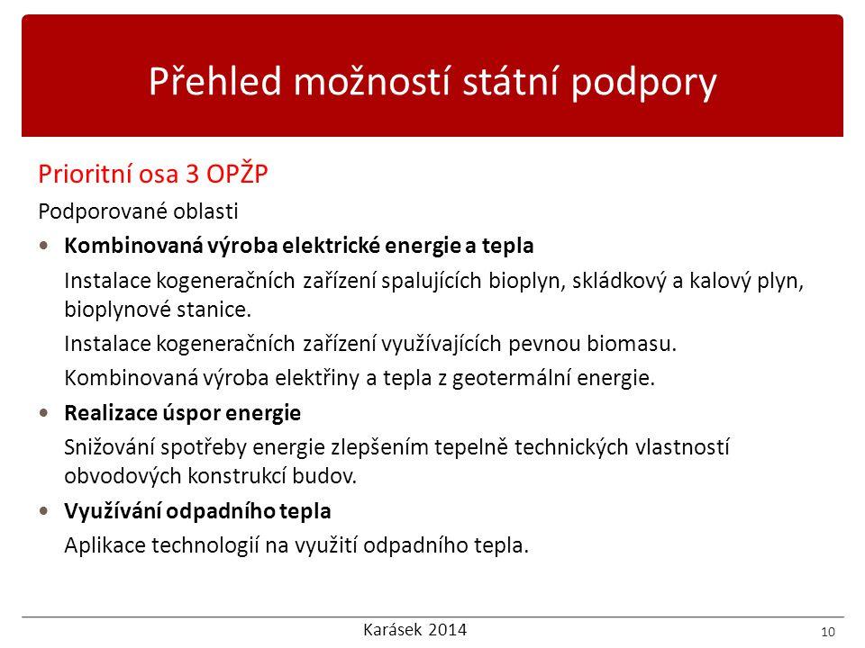 Karásek 2014 Prioritní osa 3 OPŽP Podporované oblasti  Kombinovaná výroba elektrické energie a tepla Instalace kogeneračních zařízení spalujících bio