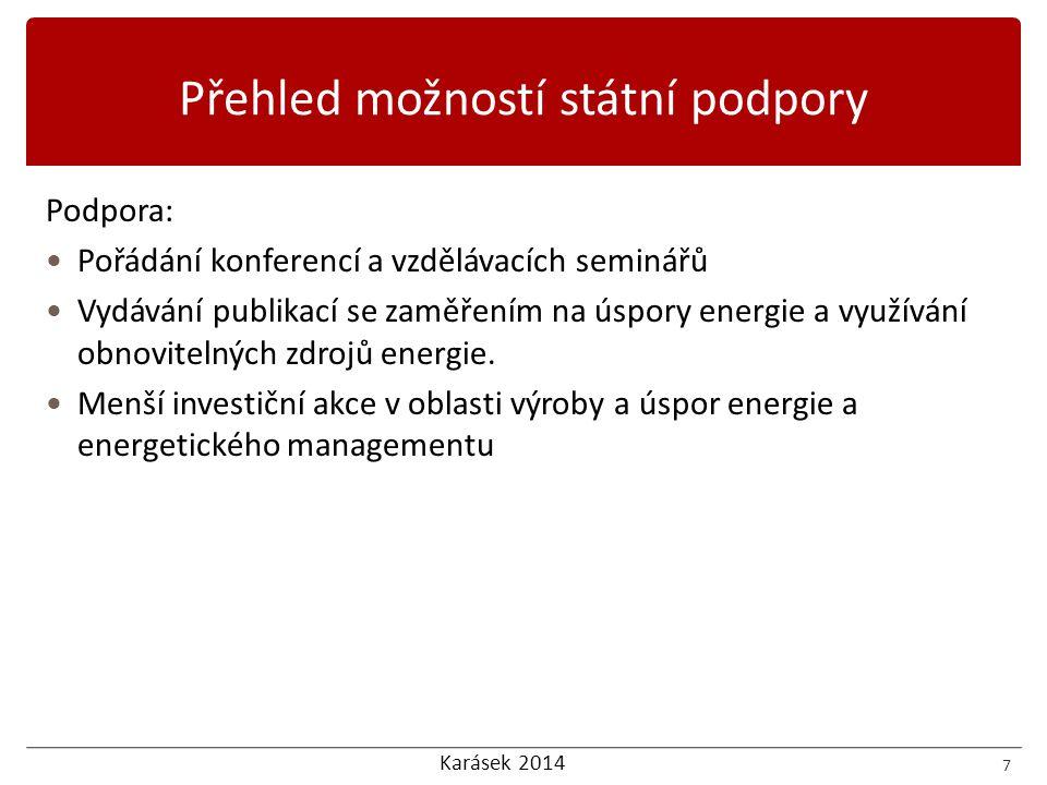 Karásek 2014 Podpora:  Pořádání konferencí a vzdělávacích seminářů  Vydávání publikací se zaměřením na úspory energie a využívání obnovitelných zdro