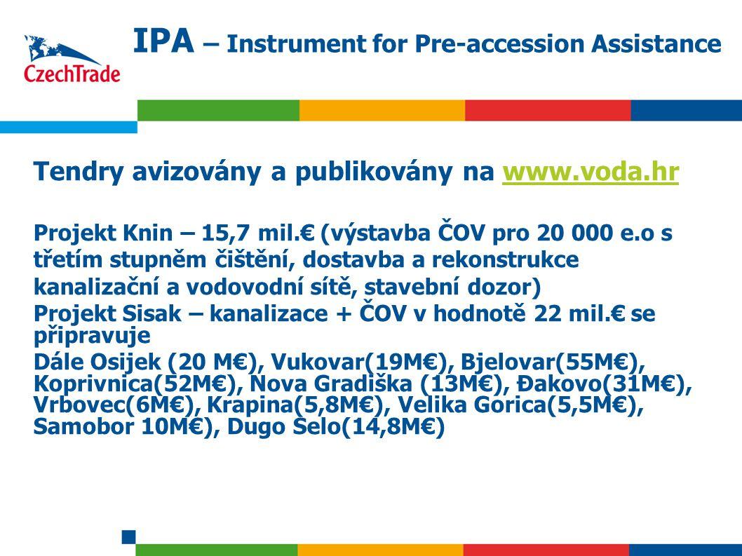 8 IPA – Instrument for Pre-accession Assistance Tendry avizovány a publikovány na www.voda.hrwww.voda.hr Projekt Knin – 15,7 mil.€ (výstavba ČOV pro 20 000 e.o s třetím stupněm čištění, dostavba a rekonstrukce kanalizační a vodovodní sítě, stavební dozor) Projekt Sisak – kanalizace + ČOV v hodnotě 22 mil.€ se připravuje Dále Osijek (20 M€), Vukovar(19M€), Bjelovar(55M€), Koprivnica(52M€), Nova Gradiška (13M€), Đakovo(31M€), Vrbovec(6M€), Krapina(5,8M€), Velika Gorica(5,5M€), Samobor 10M€), Dugo Selo(14,8M€)
