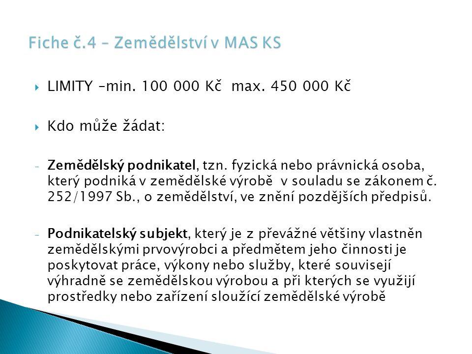  LIMITY –min.100 000 Kč max. 450 000 Kč  Kdo může žádat: - Zemědělský podnikatel, tzn.