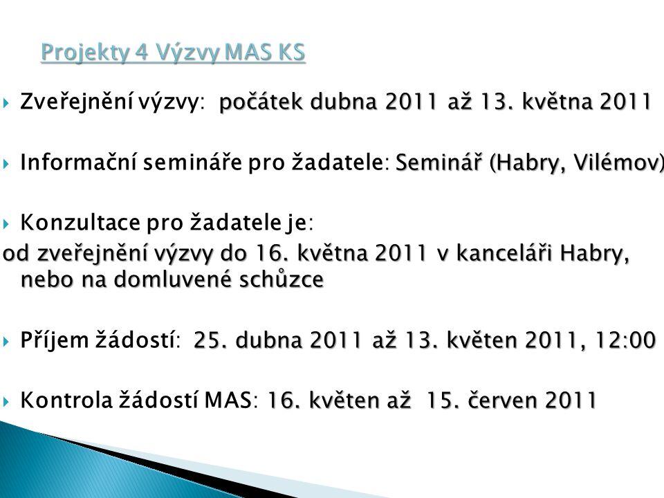 počátek dubna 2011 až 13.května 2011  Zveřejnění výzvy: počátek dubna 2011 až 13.