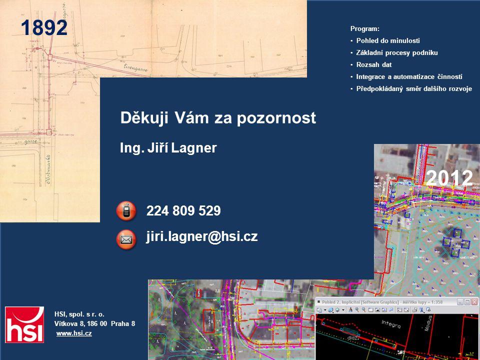 1892 HSI, spol. s r. o. Vítkova 8, 186 00 Praha 8 www.hsi.cz Ing. Jiří Lagner 224 809 529 jiri.lagner@hsi.cz Děkuji Vám za pozornost Program: • Pohled
