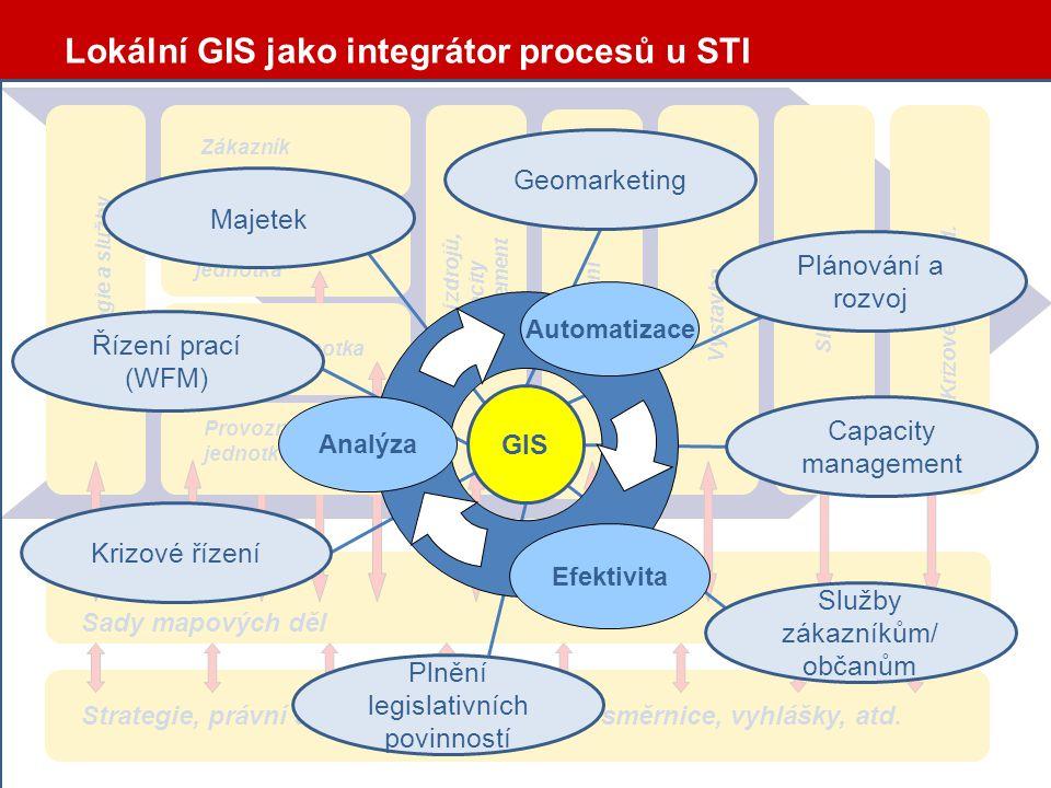 GIS jako integrátor procesů Vstupy –Identifikace zákazníka –Územní identifikace koncového bodu služby –Požadavek zákazníka, parametry služby –Obsazenost a dostupnost síťové infrastruktury –Přípojná kapacita –Technické parametry sítě Výstup –Aktivace služby (v případě dostupnosti infrastruktury) nebo –Územní identifikace koncového bodu –Parametry služby Požadavek zákazníka Analýza Startovací dokumentace VýstavbaZřízení službyCM B .