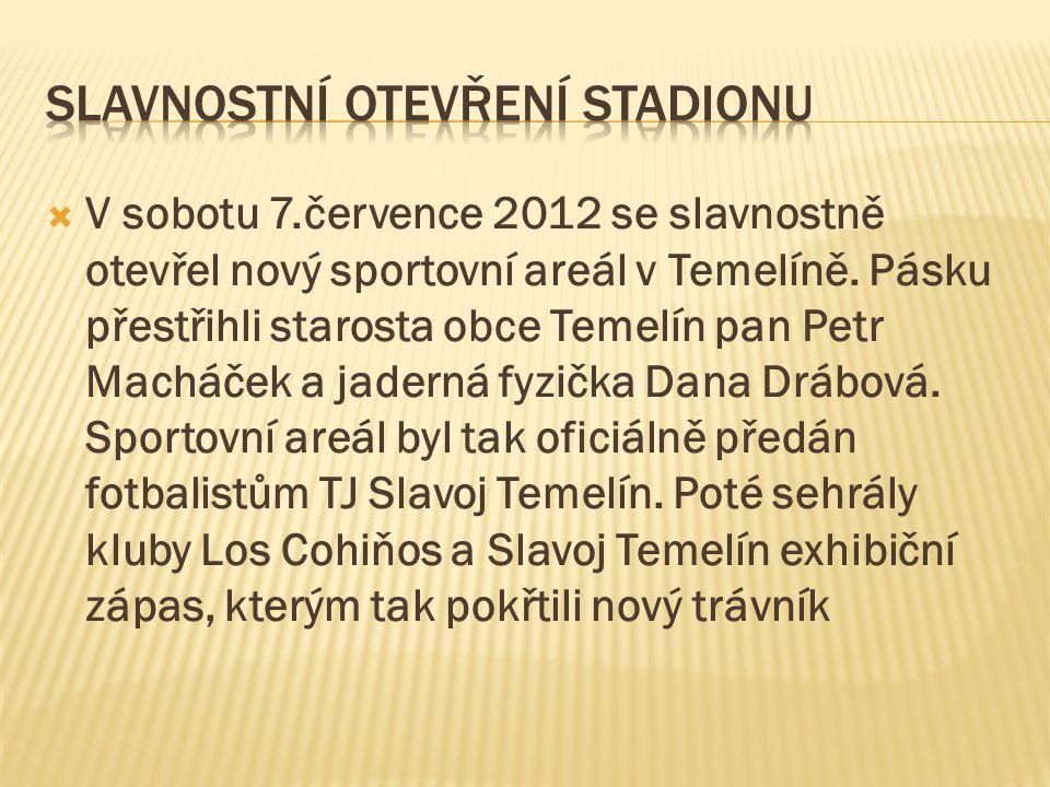  V sobotu 7.července 2012 se slavnostně otevřel nový sportovní areál v Temelíně. Pásku přestřihli starosta obce Temelín pan Petr Macháček a jaderná f