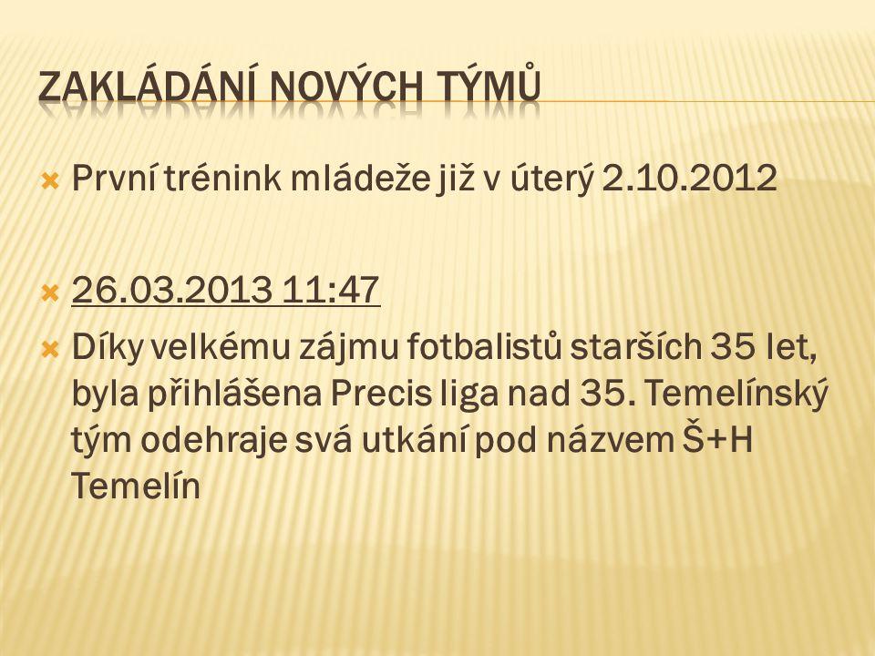  První trénink mládeže již v úterý 2.10.2012  26.03.2013 11:47  Díky velkému zájmu fotbalistů starších 35 let, byla přihlášena Precis liga nad 35.