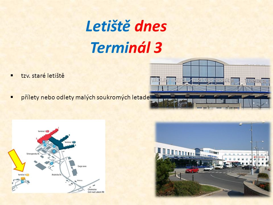 Letiště dnes Terminál 3  tzv. staré letiště  přílety nebo odlety malých soukromých letadel