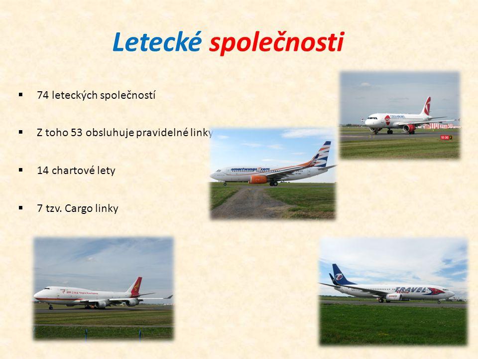 Letecké společnosti  74 leteckých společností  Z toho 53 obsluhuje pravidelné linky  14 chartové lety  7 tzv. Cargo linky