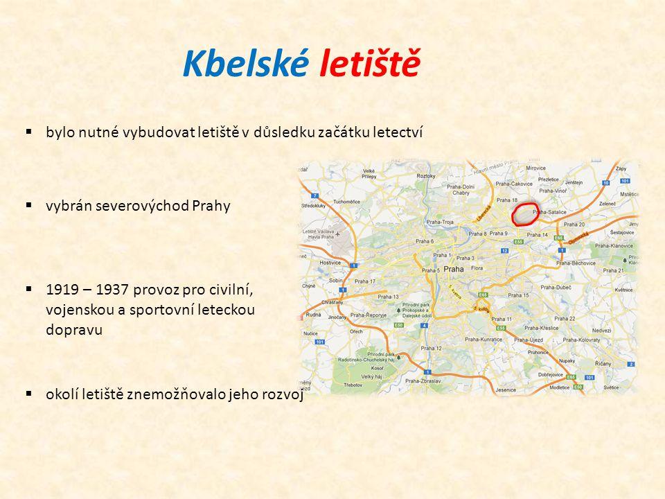 Kbelské letiště  bylo nutné vybudovat letiště v důsledku začátku letectví  vybrán severovýchod Prahy  1919 – 1937 provoz pro civilní, vojenskou a sportovní leteckou dopravu  okolí letiště znemožňovalo jeho rozvoj