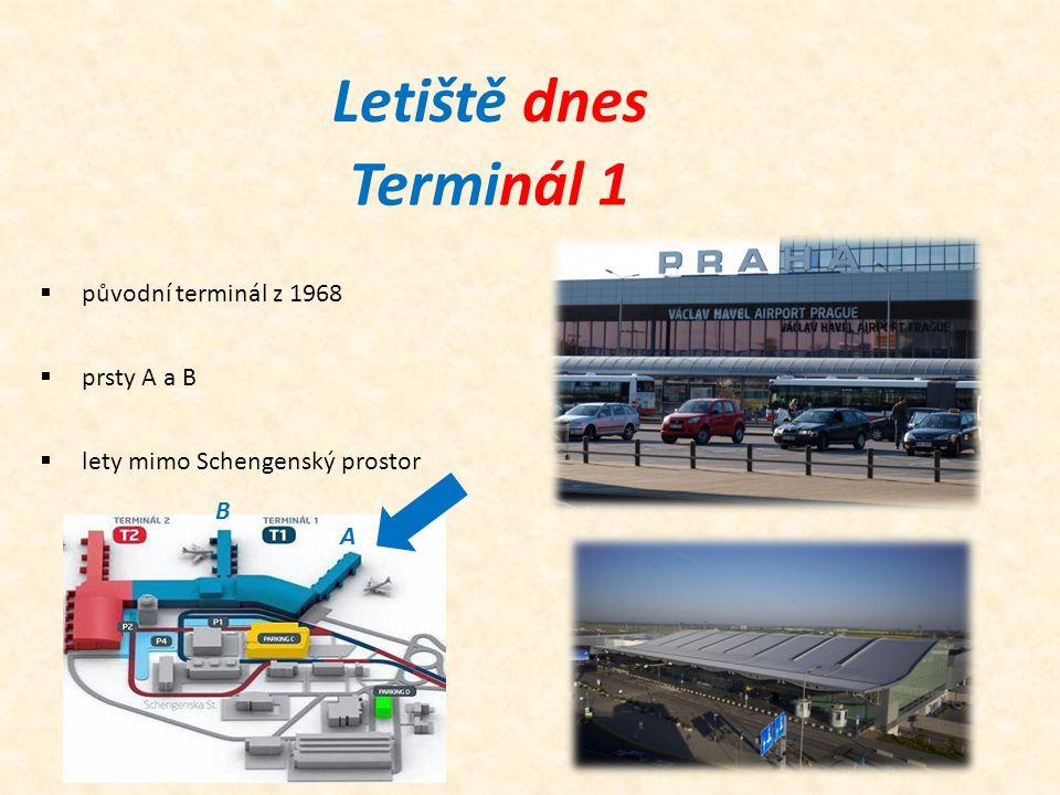 Terminál 1  původní terminál z 1968  prsty A a B Letiště dnes  lety mimo Schengenský prostor A B