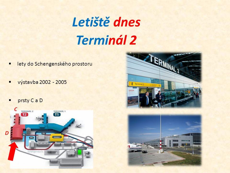 Terminál 2 Letiště dnes  lety do Schengenského prostoru  výstavba 2002 - 2005  prsty C a D C D