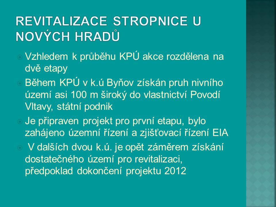  Vzhledem k průběhu KPÚ akce rozdělena na dvě etapy  Během KPÚ v k.ú Byňov získán pruh nivního území asi 100 m široký do vlastnictví Povodí Vltavy,