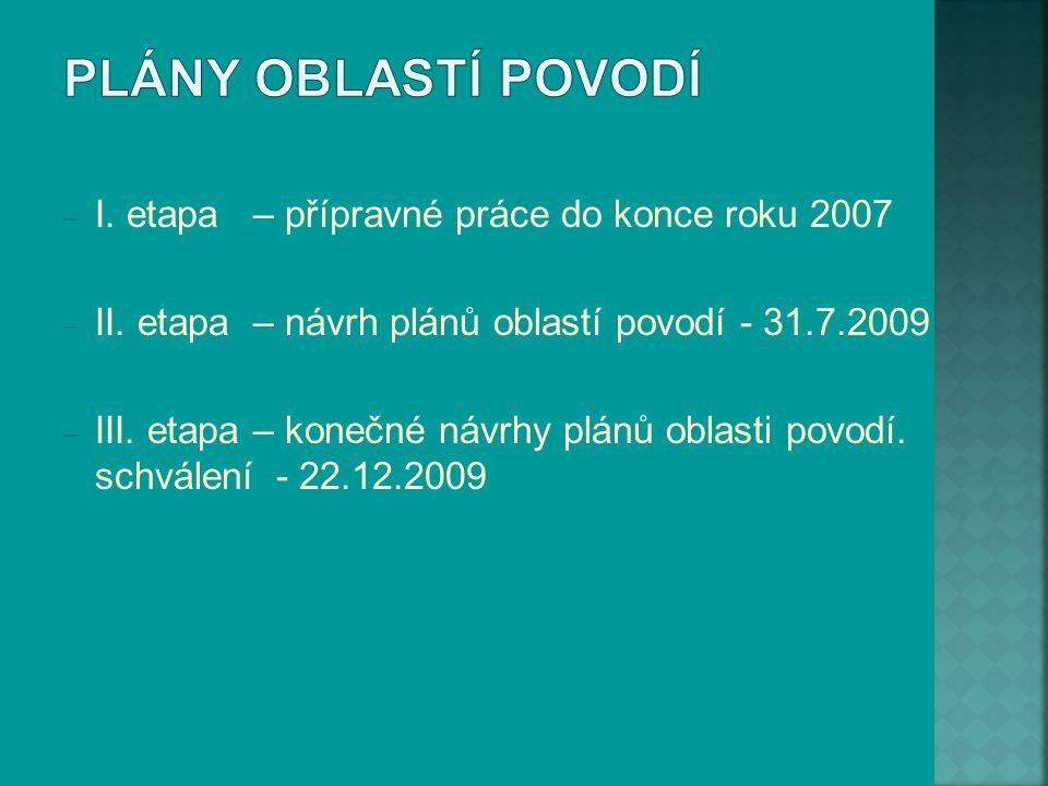 – I. etapa – přípravné práce do konce roku 2007 – II. etapa – návrh plánů oblastí povodí - 31.7.2009 – III. etapa – konečné návrhy plánů oblasti povod