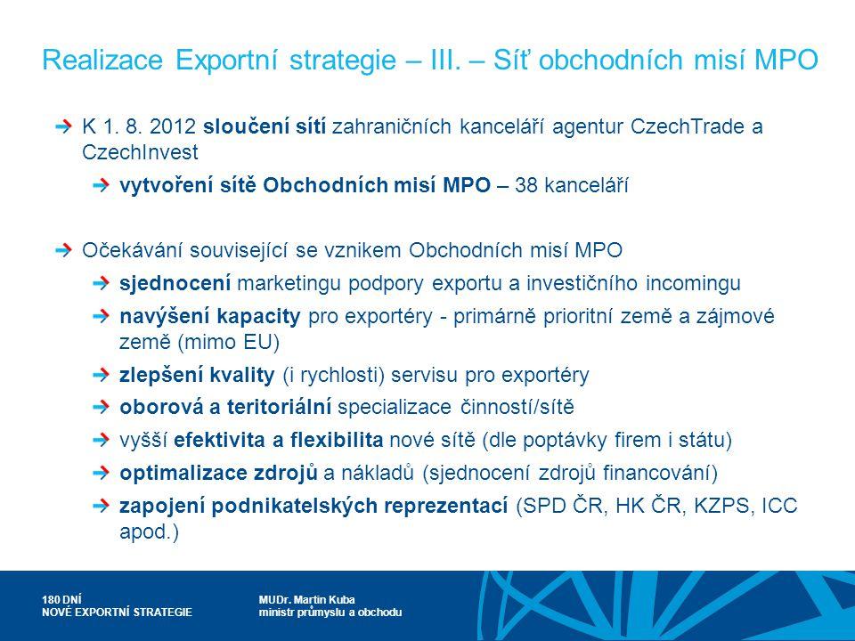 MUDr. Martin Kuba ministr průmyslu a obchodu 180 DNÍ NOVÉ EXPORTNÍ STRATEGIE Realizace Exportní strategie – III. – Síť obchodních misí MPO K 1. 8. 201