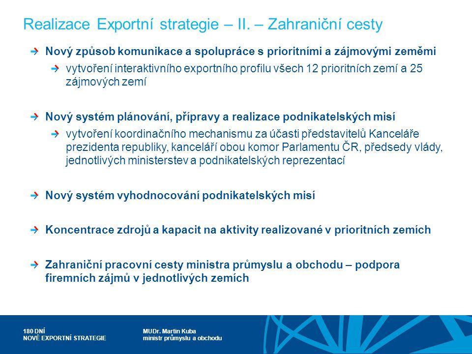 MUDr. Martin Kuba ministr průmyslu a obchodu 180 DNÍ NOVÉ EXPORTNÍ STRATEGIE Realizace Exportní strategie – II. – Zahraniční cesty Nový způsob komunik