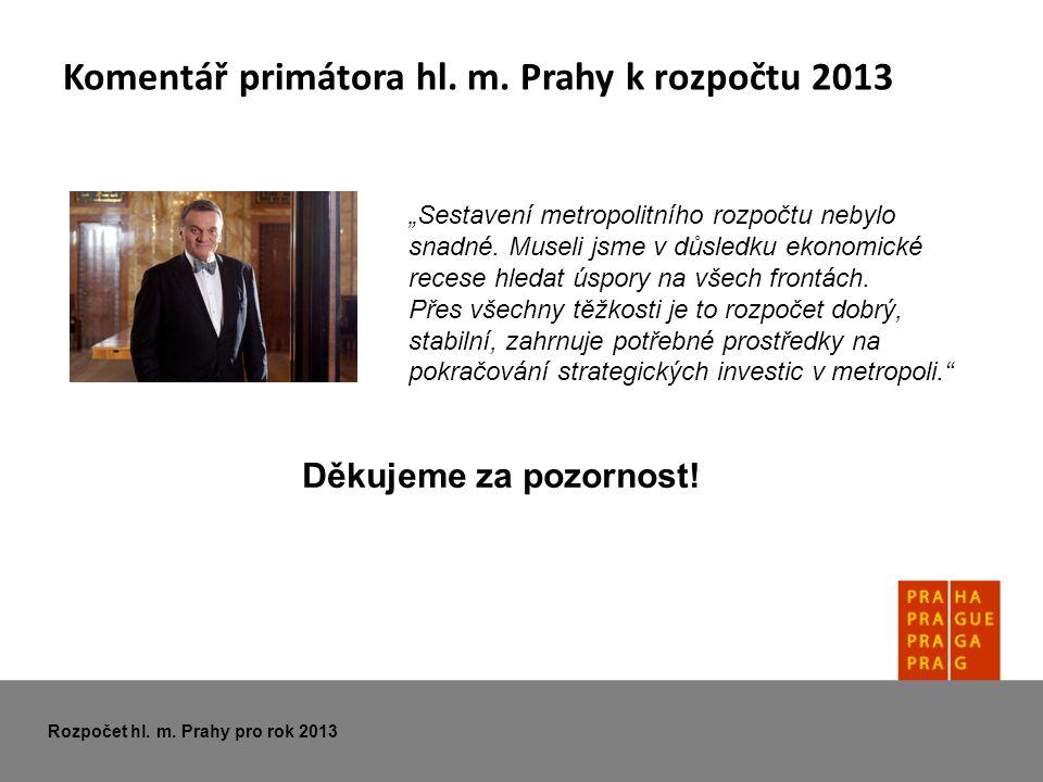 """Komentář primátora hl. m. Prahy k rozpočtu 2013 """"Sestavení metropolitního rozpočtu nebylo snadné."""