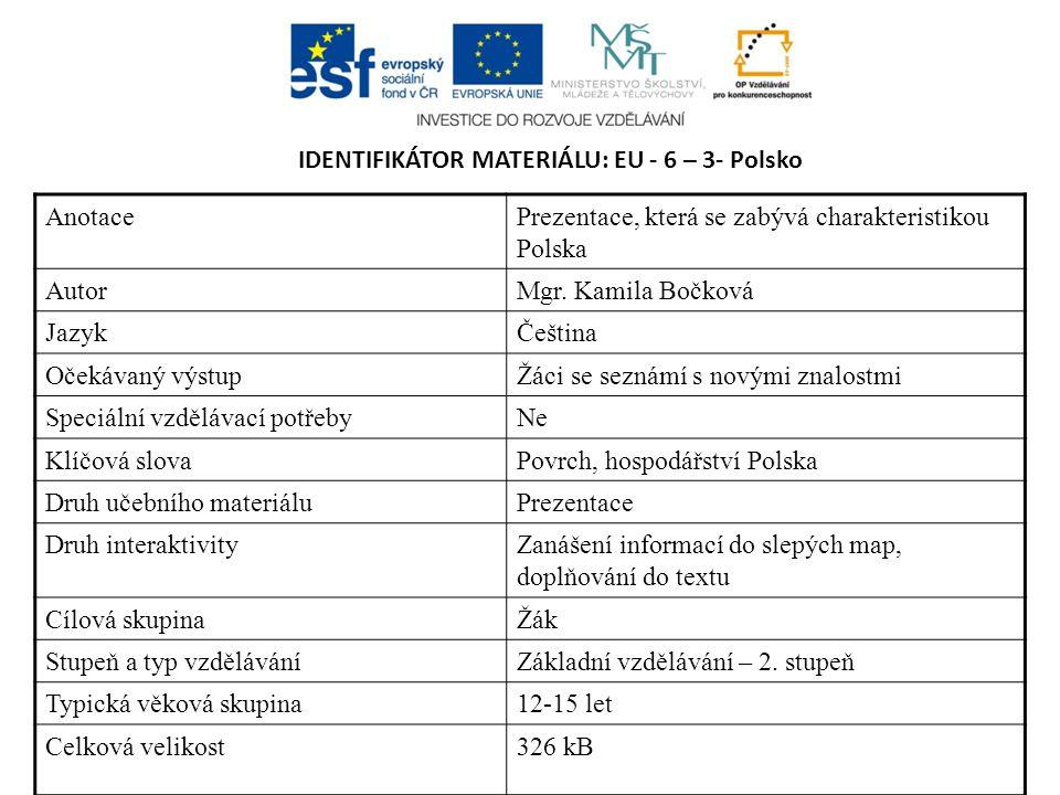 IDENTIFIKÁTOR MATERIÁLU: EU - 6 – 3- Polsko Anotace Prezentace, která se zabývá charakteristikou Polska AutorMgr. Kamila Bočková JazykČeština Očekávan