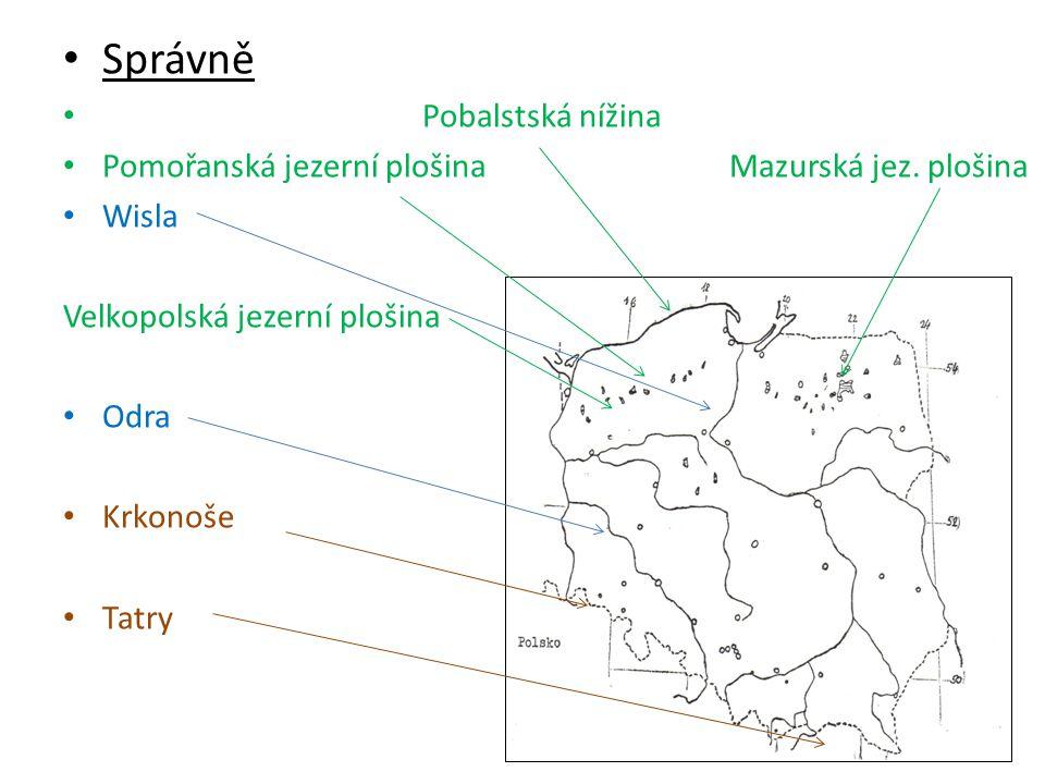 • Správně • Pobalstská nížina • Pomořanská jezerní plošina Mazurská jez. plošina • Wisla Velkopolská jezerní plošina • Odra • Krkonoše • Tatry
